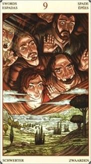 Карта Девятка Мечей из колоды Таро Мона Лиза