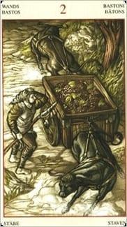 Карта Двойка Жезлов из колоды Таро Мона Лиза