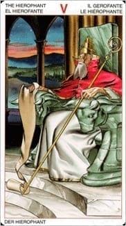 Карта Иерофант (Жрец, Папа) из колоды Таро Ордена Золотой Зари