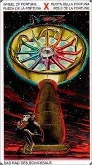 Карта Колесо Фортуны из колоды Таро Ордена Золотой Зари