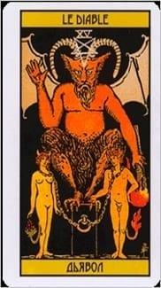 Карта Дьявол из колоды Таро Оскара Вайлда