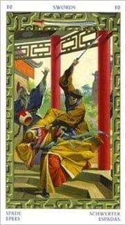 Карта Десятка Мечей из колоды Таро Путешествие на Восток