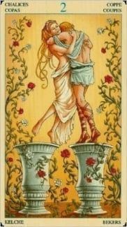 Карта Двойка Чаш из колоды Таро Союз Богинь