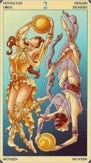 Карта Двойка Пентаклей из колоды Таро Союз Богинь