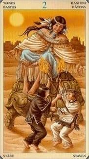 Карта Двойка Жезлов из колоды Таро Союз Богинь