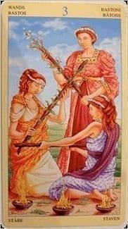 Карта Тройка Жезлов из колоды Таро Союз Богинь