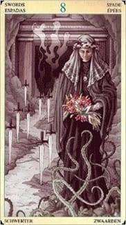 Карта Восьмерка Мечей из колоды Таро Союз Богинь