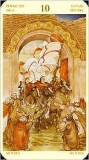 Карта Десятка  Пентаклей из колоды Таро Святой Грааль