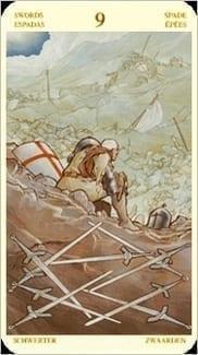 Карта Девятка Мечей из колоды Таро Святой Грааль