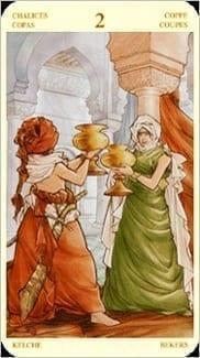 Карта Двойка Чаш из колоды Таро Святой Грааль