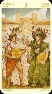 Карта Двойка Пентаклей из колоды Таро Святой Грааль