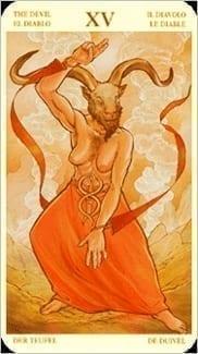 Карта Карта Дьявол из колоды  Таро Святой Грааль