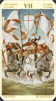 Карта Колесница из колоды Таро Святой Грааль