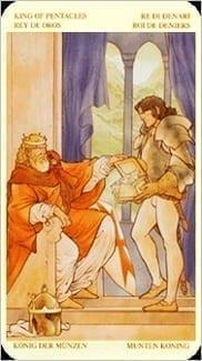 Карта Король Пентаклей из колоды Таро Святой Грааль
