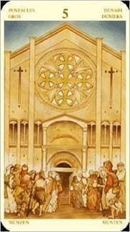 Карта Пятерка Пентаклей из колоды Таро Святой Грааль