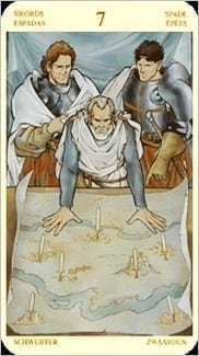 Карта Семерка Мечей из колоды Таро Святой Грааль