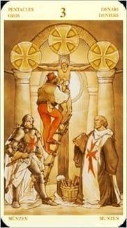 Карта Тройка Пентаклей из колоды Таро Святой Грааль