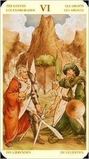 Карта Влюбленные из колоды Таро Святой Грааль