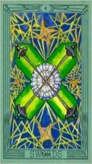 Карта Четверка Мечей из колоды Таро Тота Алистера Кроули