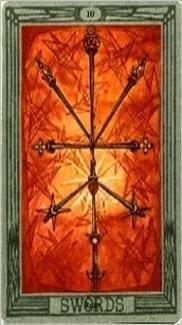 Карта Десятка Мечей из колоды Таро Тота Алистера Кроули