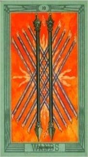 Карта Десятка Жезлов из колоды Таро Тота Алистера Кроули