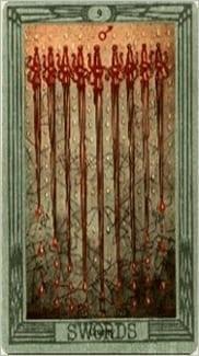 Карта Девятка Мечей из колоды Таро Тота Алистера Кроули