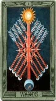 Карта Девятка Жезлов из колоды Таро Тота Алистера Кроули