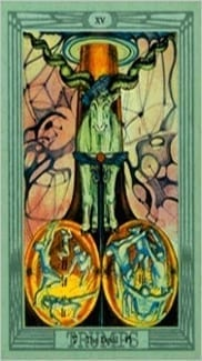 Карта Карта Дьявол из колоды  Таро Тота Алистера Кроули