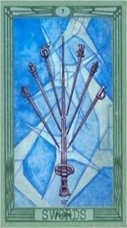 Карта Семерка Мечей из колоды Таро Тота Алистера Кроули