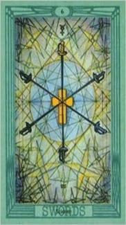 Карта Шестерка Мечей из колоды Таро Тота Алистера Кроули