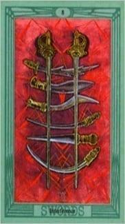 Карта Восьмерка Мечей из колоды Таро Тота Алистера Кроули
