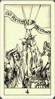 Карта Четверка Мечей из колоды Таро Трёх Мушкетеров