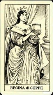 Карта Королева Чаш из колоды Таро Трёх Мушкетеров