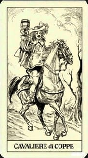 Карта Рыцарь Чаш из колоды Таро Трёх Мушкетеров