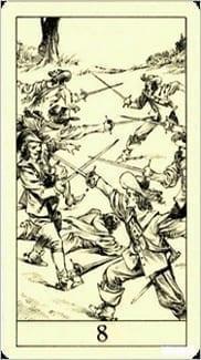 Карта Восьмерка Мечей из колоды Таро Трёх Мушкетеров