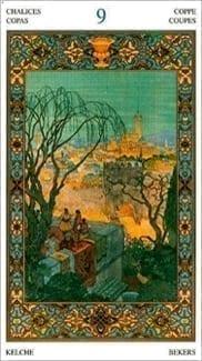 Карта Девятка Чаш из колоды Таро Тысяча и одна Ночь