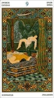 Карта Девятка Мечей из колоды Таро Тысяча и одна Ночь