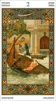 Карта Двойка Мечей из колоды Таро Тысяча и одна Ночь