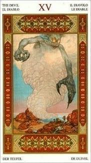 Карта Дьявол из колоды Таро Тысяча и одна Ночь