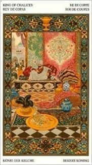 Карта Король Чаш из колоды Таро Тысяча и одна Ночь