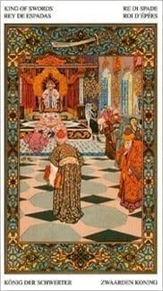 Карта Король Мечей из колоды Таро Тысяча и одна Ночь