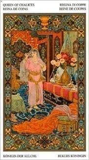 Карта Королева Чаш из колоды Таро Тысяча и одна Ночь