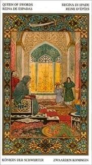 Карта Королева Мечей из колоды Таро Тысяча и одна Ночь