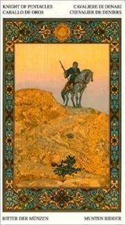 Карта Рыцарь Пентаклей из колоды Таро Тысяча и одна Ночь