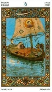 Карта Шестерка Мечей из колоды Таро Тысяча и одна Ночь