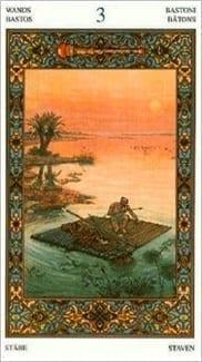Карта Тройка Жезлов из колоды Таро Тысяча и одна Ночь