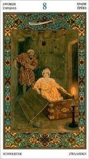 Карта Восьмерка Мечей из колоды Таро Тысяча и одна Ночь