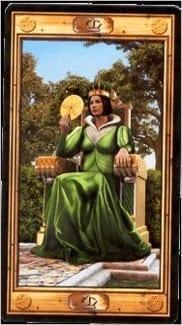 Карта Королева Пентаклей из колоды Таро Универсальный ключ