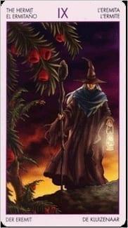 Карта Отшельник из колоды Таро Ведьм