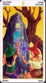 Карта Восьмерка Пентаклей из колоды Таро Ведьм